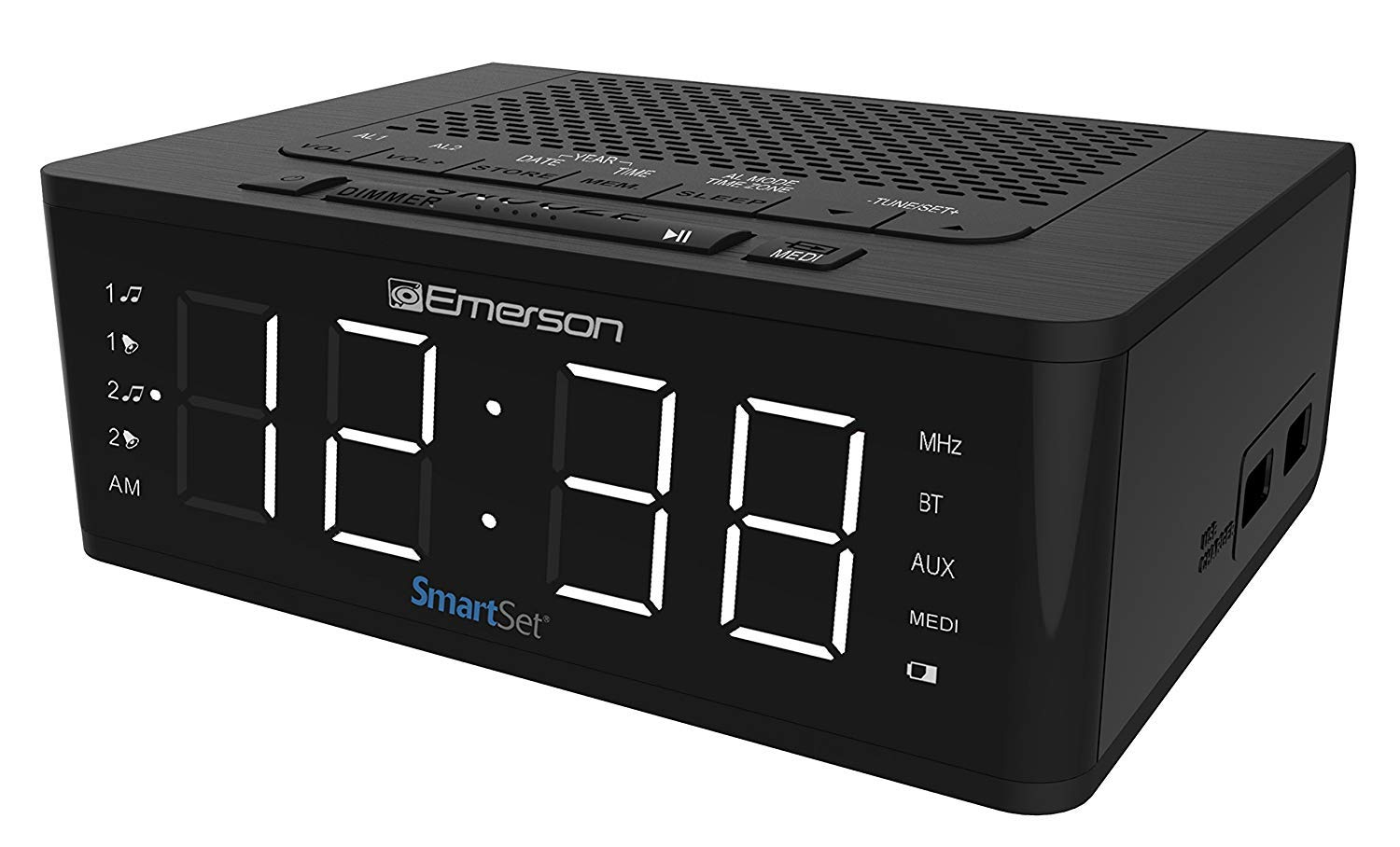 Emerson SmartSet Alarm Clock Radio with Bluetooth Speaker, Charging Station with 2 USB Ports for Iphone/Ipad/Ipod/Android and Tablets, ER100102 (Limited Edition)