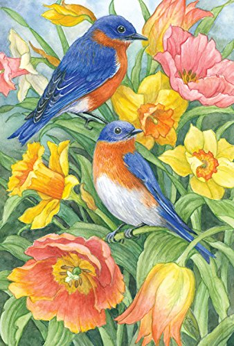 Toland Home Garden Eastern Bluebirds 12.5 x 18 Inch Decorative Spring Summer Bird Orange Flower Garden ()