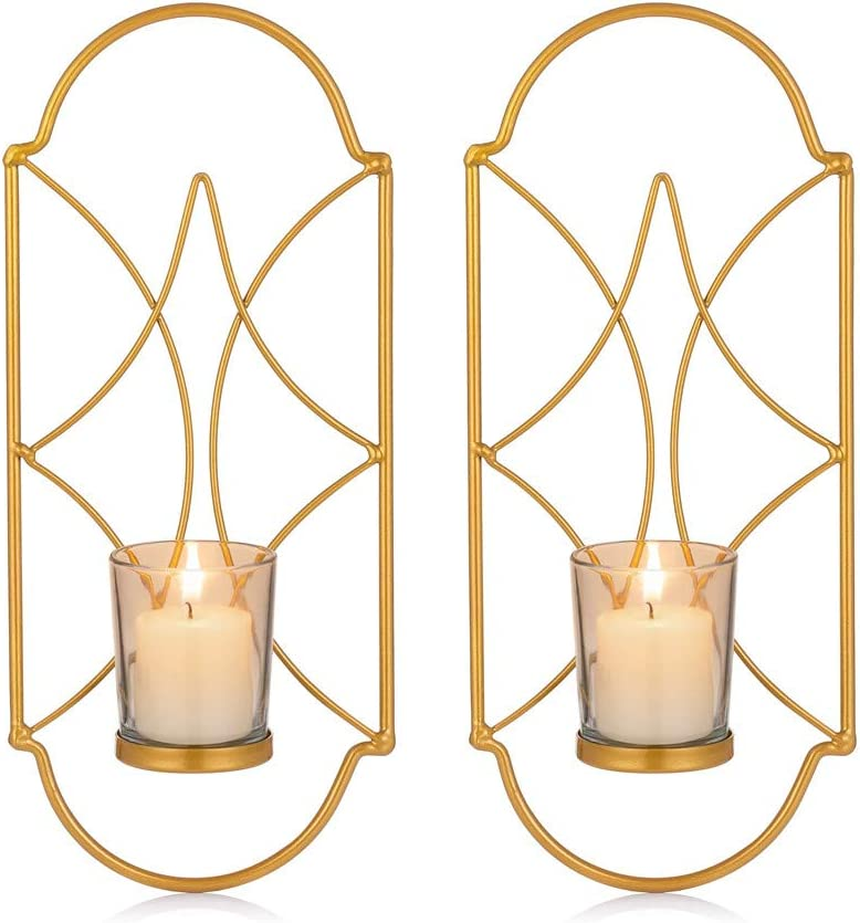 Sziqiqi Metal Wall Sconce Candle Holder Decor Set of 2 Wall Mounted Candle Sconces Holders with Glass, Candle Sconces Holder for Wall, Home Wall Art for Living Room Fireplace Yard Pathway, Gold