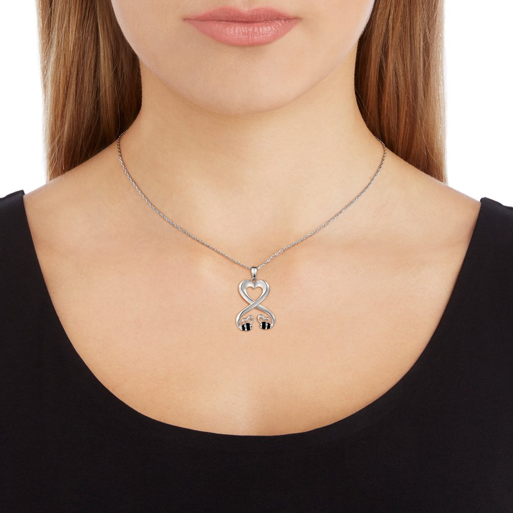 925 Sterling Silver Double Bees Infinity Love Heart Pendant Necklace for Girlfriend, 18'' by SILVER MOUNTAIN (Image #4)