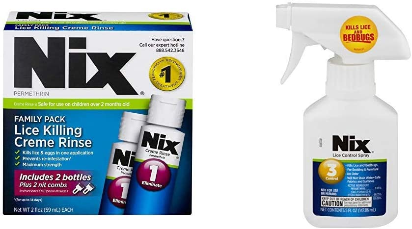Nix Lice Killing Creme Rinse Family Pack | Includes Nit Combs | 2 Bottles | 2 FL OZ Each w/Nix Lice Control Spray, Kills Lice and Bedbugs, 5 oz