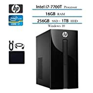 2019 Newest HP Premium Desktop Computer, Intel 4-Core i7-7700T, 2.9GHz, Up to 3.8GHz, 16GB RAM, 1TB HDD, 256GB SSD, DVD Drive, WiFi, Bluetooth, HDMI, VGA, RJ-45, Wind 10 Home w/Hesvap Accessories