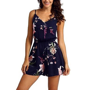 9ef31f555ff6 Longay Women Spaghetti Straps Tank Florals Romper Jumpsuit Mini Short Dress  (S)