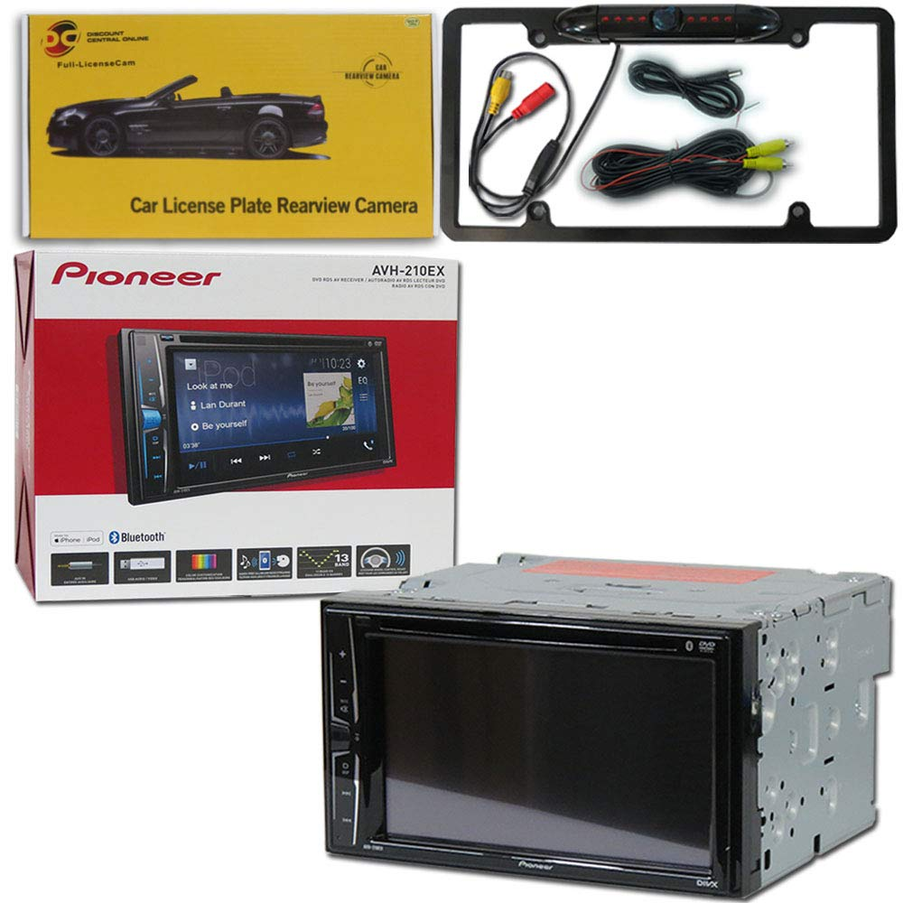 Pioneer Double DIN 2DIN AVH-210EX 6.2'' Touchscreen Car Stereo MP3 CD DVD Player Bluetooth USB with DiscountCentralOnline FL09BK Full License Plate Night Vision Waterproof Back-up Camera