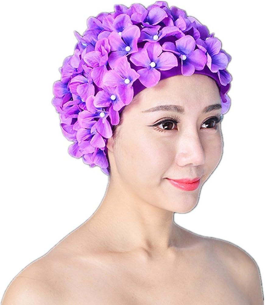Women Hat Swimming Cap Pleated Flower Printed Long Hair Bathing Nylon Fashion