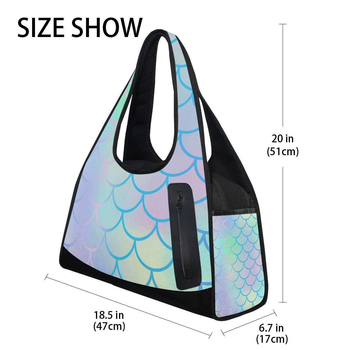 Colorful Mermaid Scals Women Sports Gym Totes Bag Multi-Function Nylon Travel Shoulder Bag