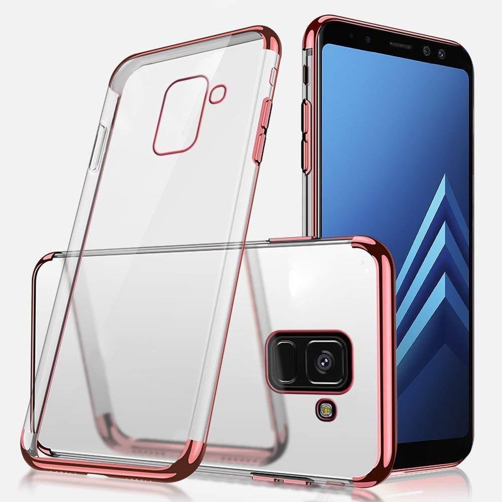 Ukayfe Silicone Coque Compatible avec Samsung Galaxy A8 2018 Ultra Fine Housse Etui de Protection Clear TPU /Étui Protecteur Souple Transparente Anti Choc Placage Bumper Case Cover Coquille-dor
