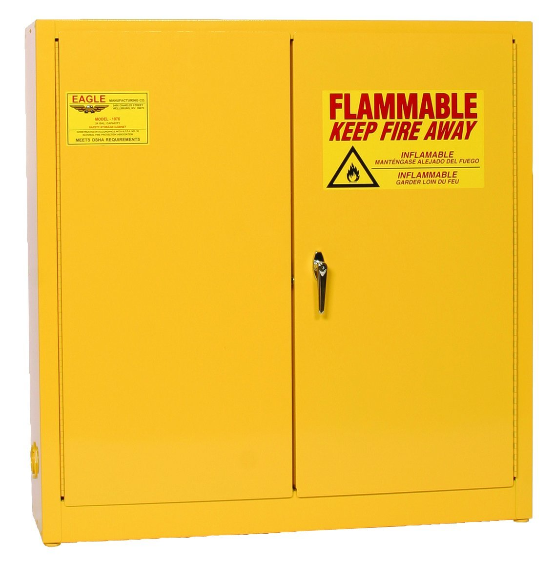 Eagle 1976 Safety Cabinet for Flammable Liquids, 2 Door Manual Close, 24 gallon, 44''Height, 43''Width, 12''Depth, Steel, Yellow
