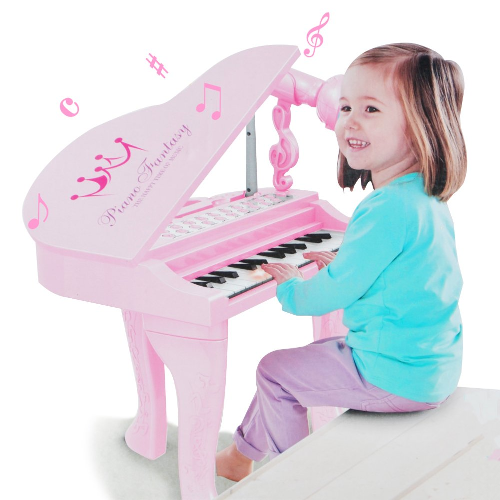 Kids Electronic Piano Muscial Toy - Happytime Multi Function 25 Keys Light and Musical Instruments with Microphone MP3 Record Sing Musical Toy for Kids by Happy-Time