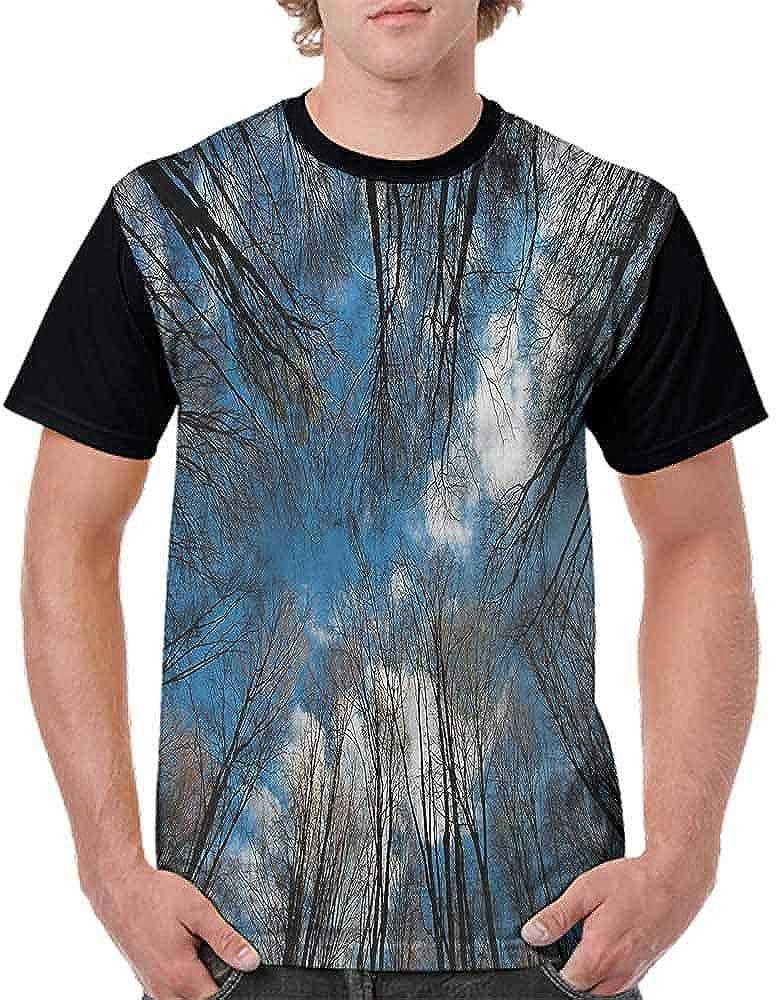 Casual Short Sleeve Graphic Tee Shirts,Beech Trees in Fall Season Fashion Personality Customization
