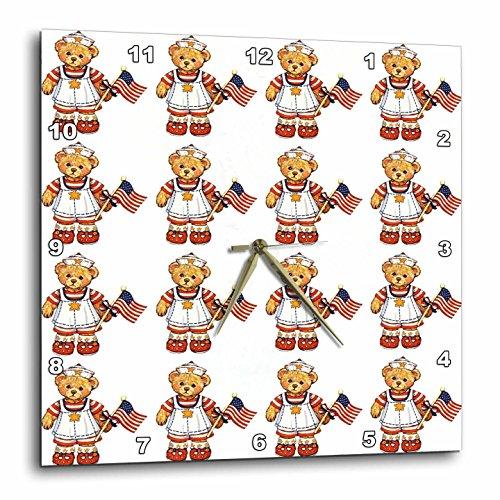 Teddy Bear Wall Clock - 3dRose dpp_14274_1 Vintage Teddy Bear Pattern Wall Clock, 10 by 10-Inch