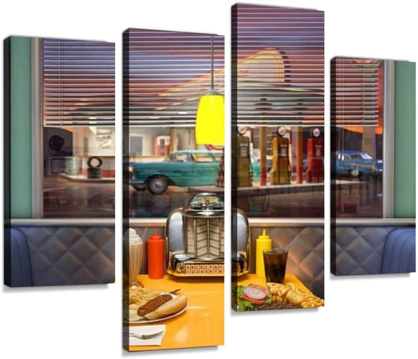 Retro Diner Interior Canvas Wall Art Painting Pictures Modern Artwork Framed Posters for Living Room Ready to Hang Home Decor 4PANEL