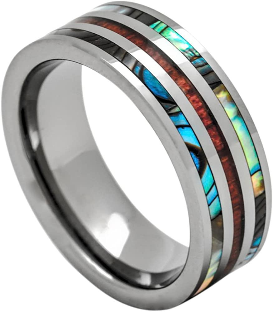 PCH Jewelers Tungsten Hawaiian Koa Wood and Abalone Ring Men Women's Bands 8mm