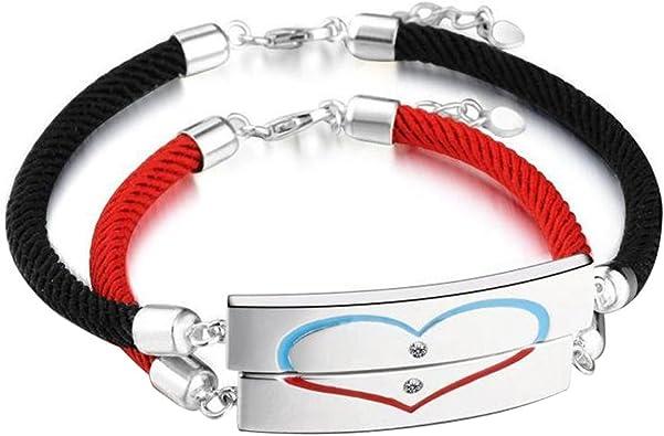 B.Z La Vie Bracelets Amoureux Coeur pour Homme et Femme Corde Noir