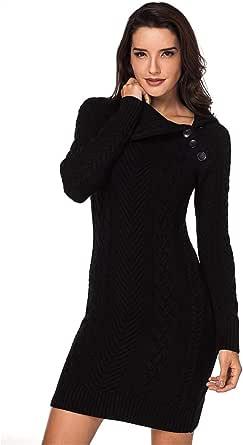 XIOUOUSD Moda Mujer Vestidos Casuales de Punto Vetement Elegantes suéteres Vestidos
