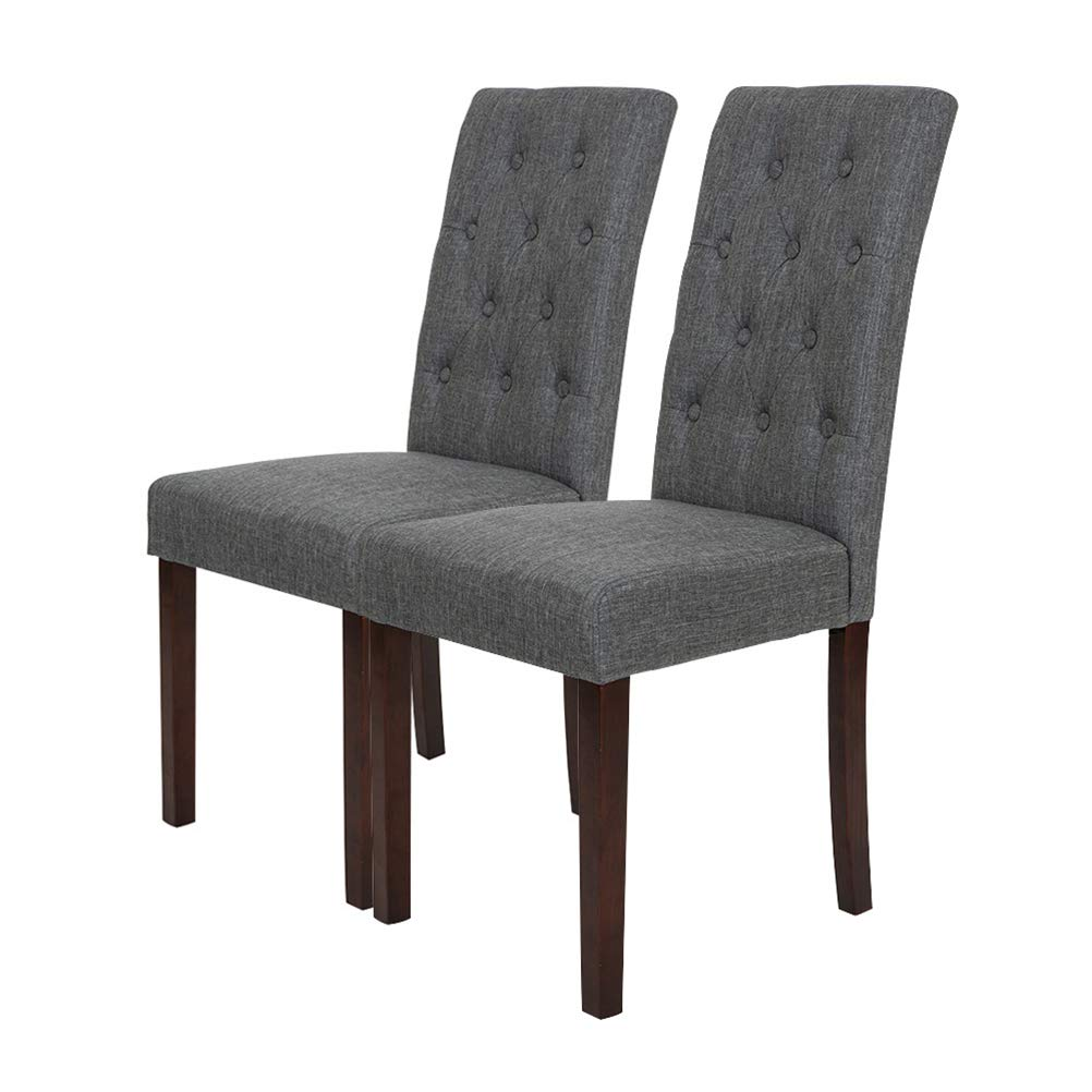 Glitzhome Padded Fabric Dining Chairs with Tufted Back Dark Gray, Set of Two