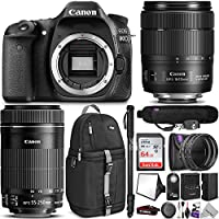Canon EOS 80D DSLR Camera with EF-S 18-135mm f/3.5-5.6 IS USM and EF-S 55-250mm f/4-5.6 IS STM Lens w/Advanced Photo and Travel Bundle