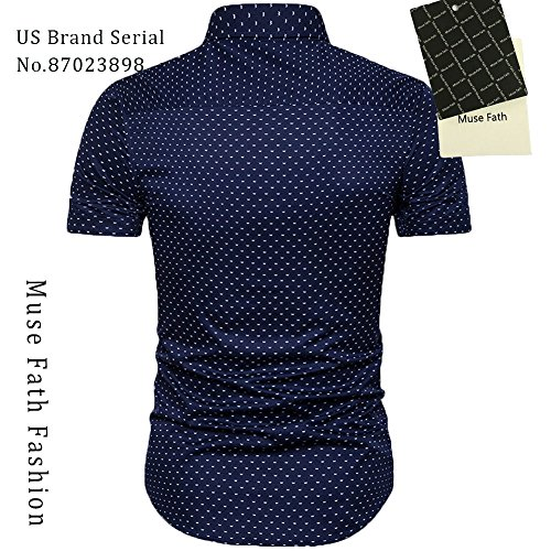 MUSE FATH Men's Printed Dress Shirt-Cotton Casual Short Sleeve Regular Fit Shirt 2