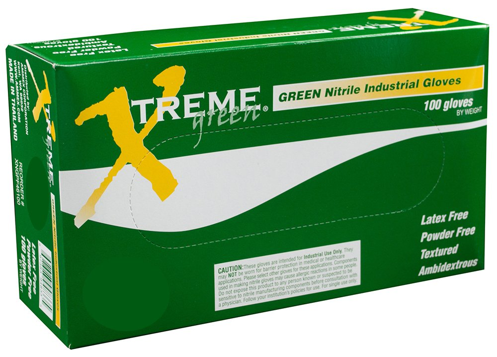 AMMEX - XNGPF42100 - Nitrile Gloves - Xtreme - Disposable, Powder Free, Industrial, 4 mil, Small, Green (Case of 1000)