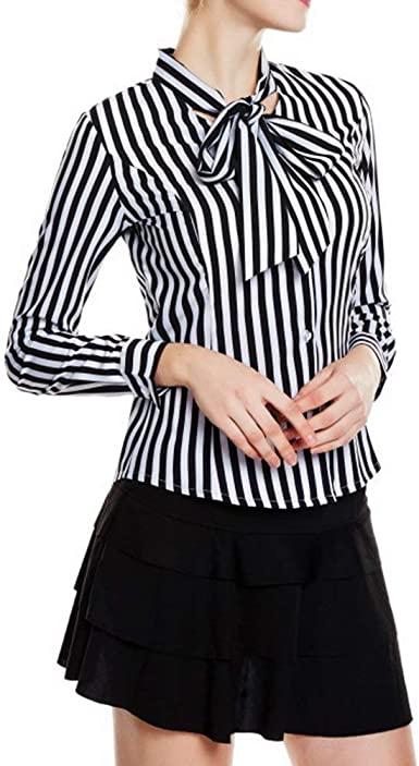 BOLAWOO Tops Mujer Tie Bow De De Blusa Camisa Rayas Striped ...