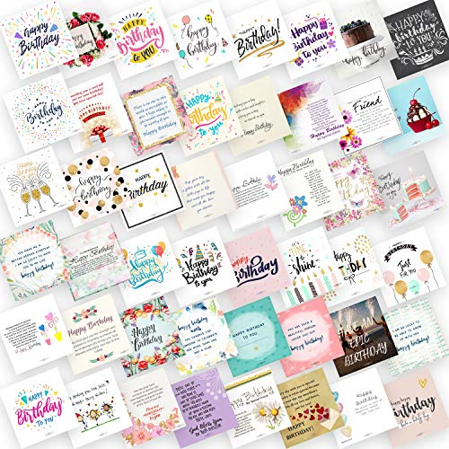 PUREZENTO Set of 48 Birthday Cards for Explosion Box or Other DIY(Do It Yourself) Birthday Greeting Cards 3X3 Inches Greeting Card (Pack of 48 Cards)