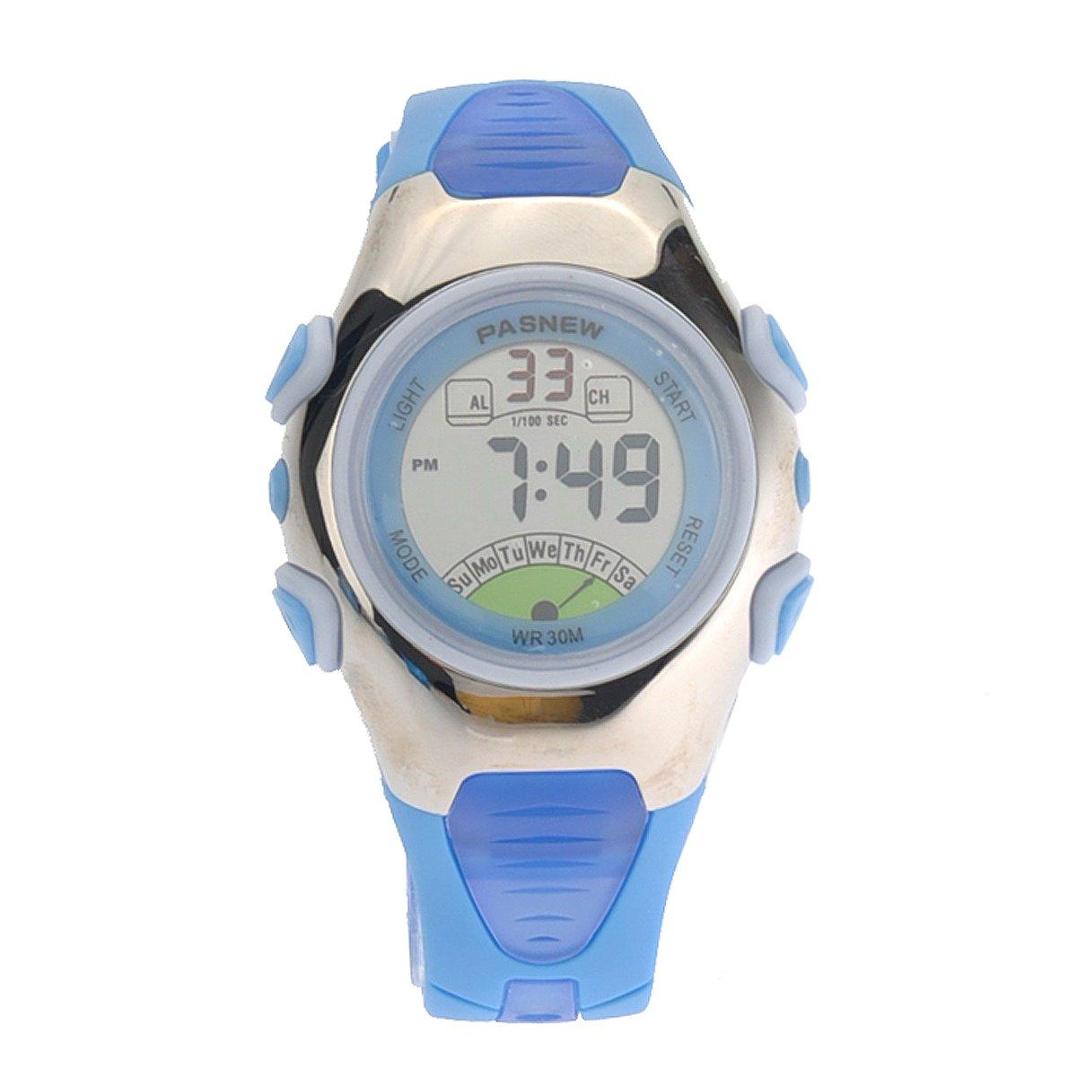 Foxnovo PASNEW Waterproof Children Boys Girls LED Digital Sports Watch (Blue)