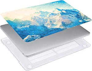 WYGCH 4 in 1 MacBook Air 13 Case 2018 Release A1932, Plastic PC Hard Shell Case& Keyboard Cover&Screen Protector&Dustproof Plug Compatible New Mac Air 13 Inch with Touch ID A1932,Snow Mountain