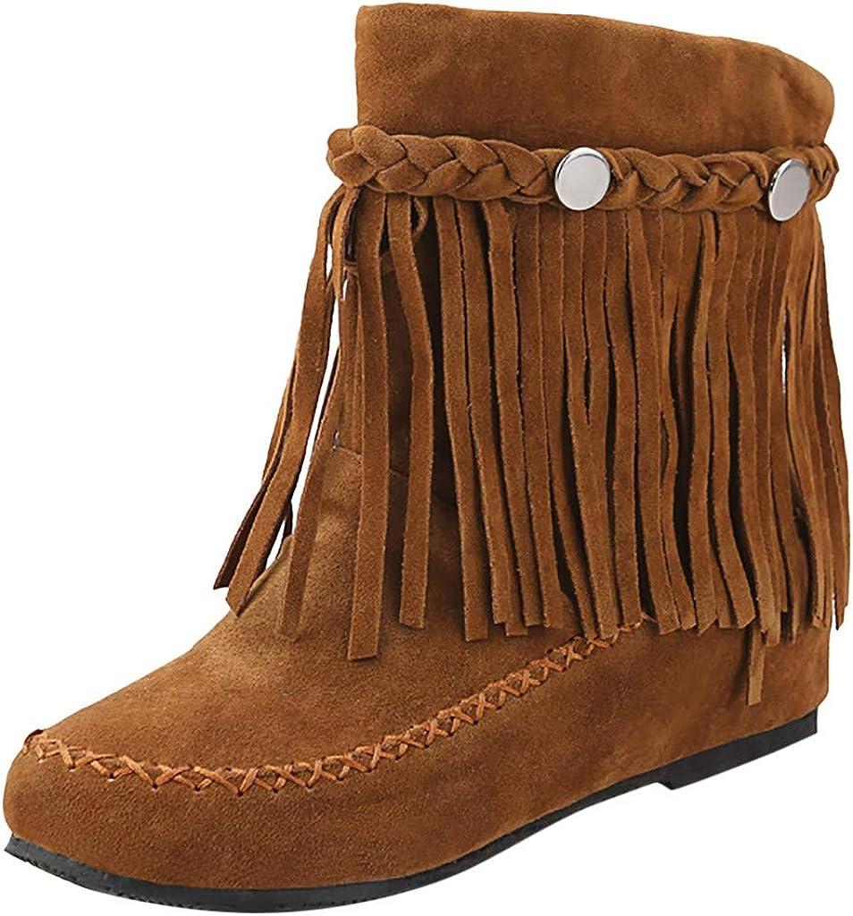 KUDICO Femmes Chaussures Bottines Indiennes de Cuissarde avec Fell Chaud /à Talon Moyenne Compensees avec Frange et Platform Conforts Bottes De Neige des Franges