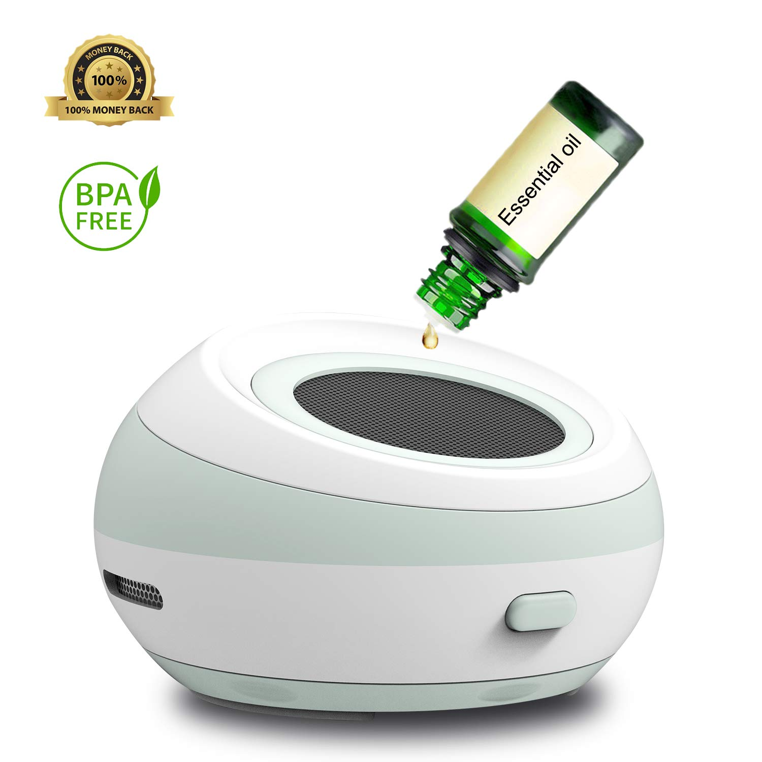 Waterless Oil Diffuser Battery Powered with USB Charging Cord, Fragrance Aromatherapy Fan Diffuser Portable Travel Aroma Diffuser for Car and Small Room