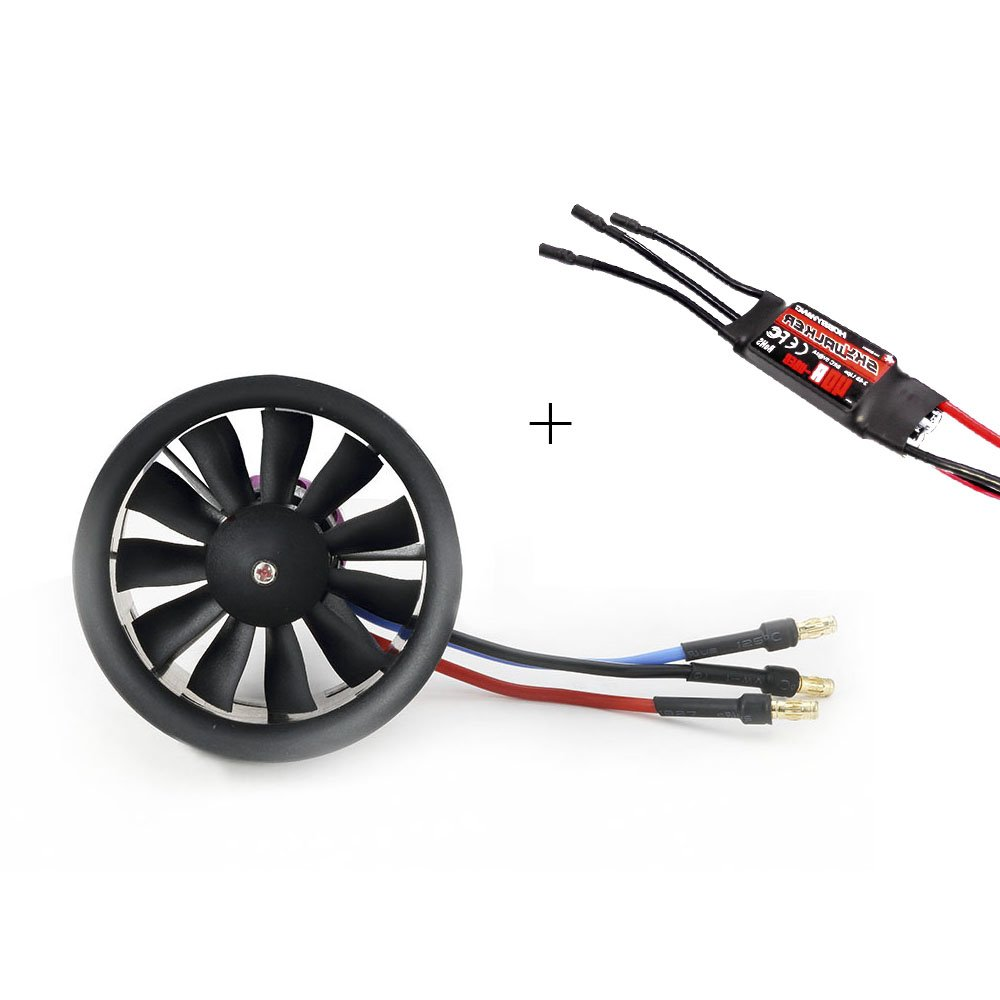 Powerfun EDF 50mm 11 Blades Ducted Fan with RC Brushless Motor 4300KV with ESC 40A(2~4S) Balance Tested for EDF 4S RC Jet Airplane