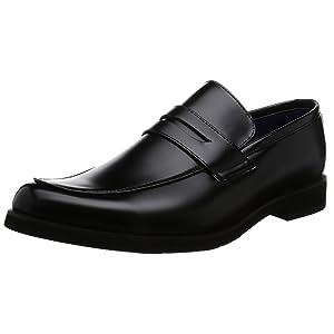[アットジーノ] ビジネスシューズ ZN5003 防水 紳士靴 通学 ローファー 雨 幅広 4E 軽量 ZN5003 BLK ブラック 27