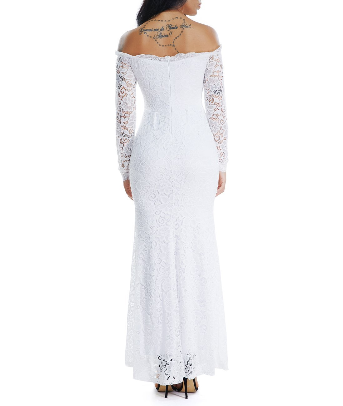 Lalagen Women's Floral Lace Long Sleeve Off Shoulder Wedding Mermaid Dress White1 S by Lalagen (Image #6)