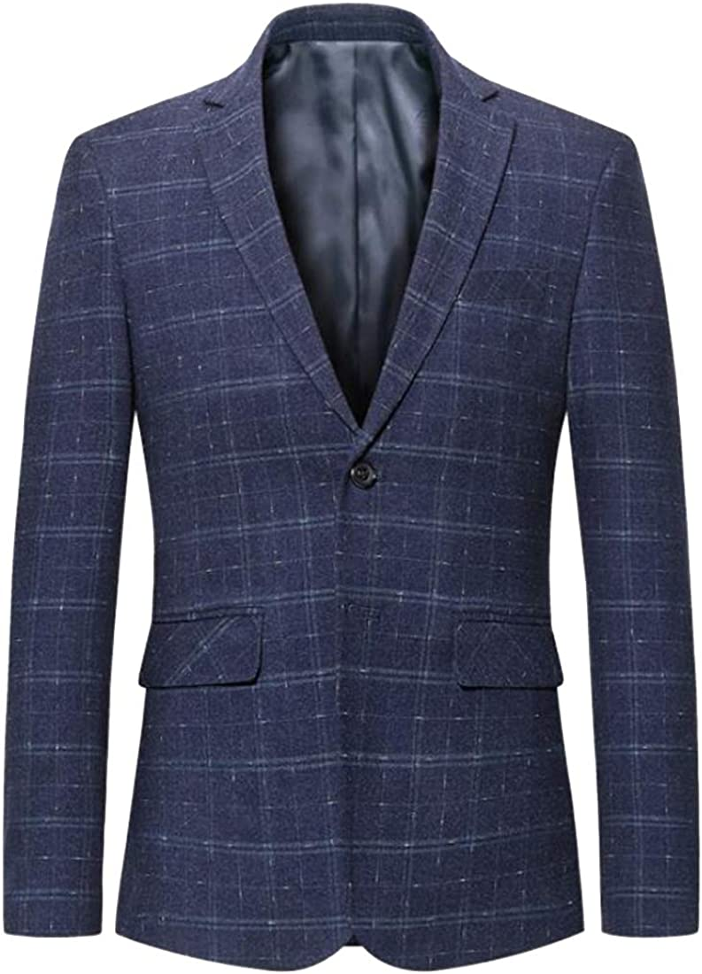 Heless Mens Checkered Slim Formal Notched Lapel Two-Button Sport Coat Blazer Jacket