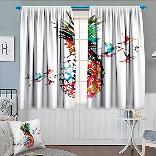 zojihouse Pineapple Window Curtain Drape Geometric Pineapple Bursting into Scattering Birds Flight Modern Abstract Print Multicolor 72 x63