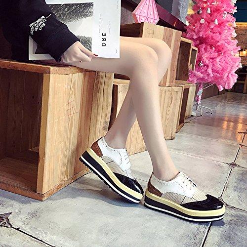 Schuhe dicke student Frauen einzelne im Schuhe Schuhe Frühjahr Schuhe Schwarz Biskuitteig Schuhe wHRxII