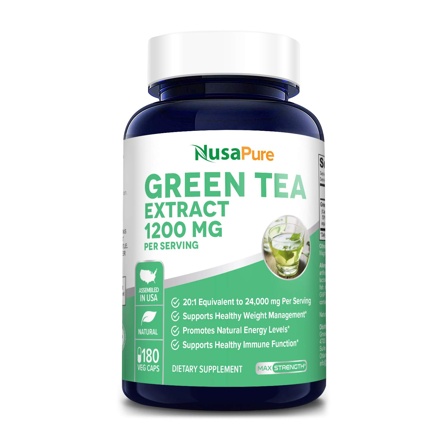Green Tea Extract 98% 1200mg with EGCG 180 Vegetarian Capsules (Non-GMO & Gluten Free) Extract 20:1 Equivalent to 24000mg Green Tea Per Serving - Max Potency - Support Weight Loss & Metabolism Boost
