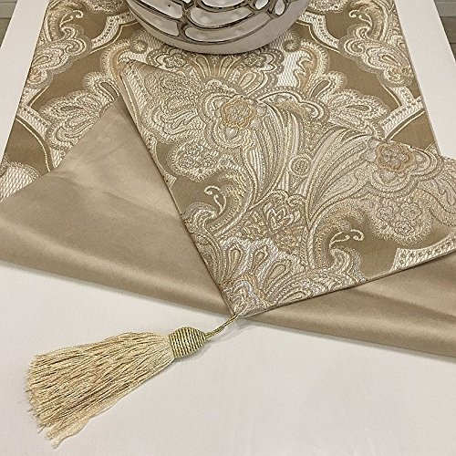 Christmas Tablescape Decor - Elegant European brocade tapestry style champagne table runner