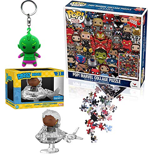 Funko Collage of Super Heroes Vinyl Exclusive X-Men Figure Dorbz Blackbird Storm on Invisible Jet Bundled with Pop Puzzle Characters + Galaxy Star Lord Pocket Keychain 3 Item Power Pack Super Heroes
