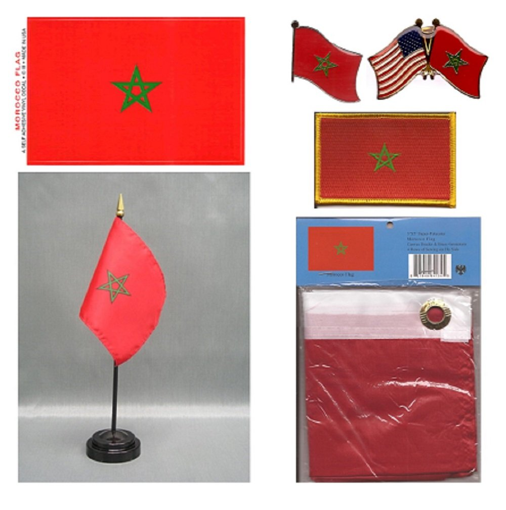 Morocco Heritage Flag Pack - Includes a Moroccan 3x5' Flag, Vinyl Flag Decal, One Single & One Double Friendship Flag Lapel Pin, Miniature Desk Flag with Stand & One Iron-On Flag Patch by World Flags Direct