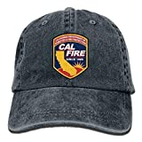 Cal Fire California Strong Plain Adjustable Cowboy Cap Denim Hat for Women and Men