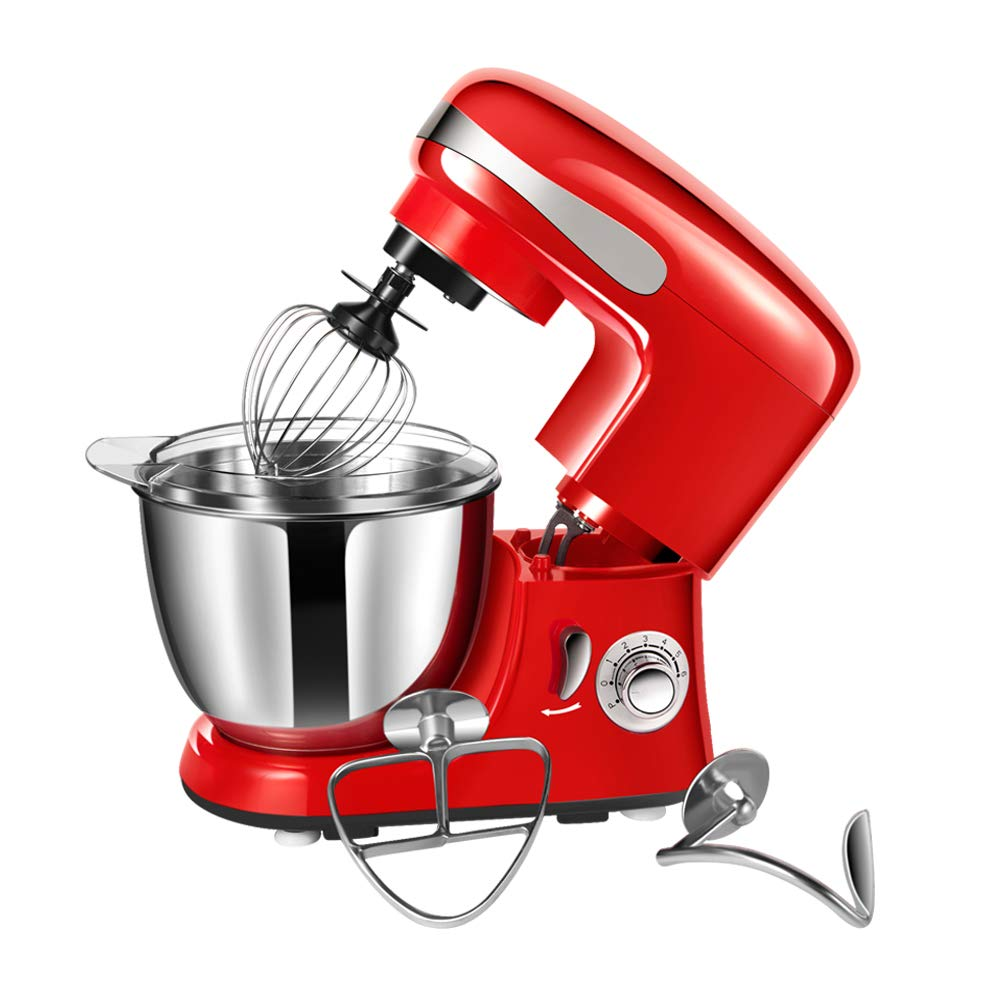 Stand Mixer CHEFTRONIC SM-928 350W Kitchen Mixer 4.2qt Stainless Bowl 6 Speed Electric Mixer with Dough Hook, Wire Whip, Splash Guard