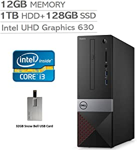 2020 Dell Vostro 3471 Small Desktop Computer, 9th Gen Intel Core i3-9100, 12GB RAM, 1TB HDD+128GB SSD, Intel UHD Graphics 630, DVD-RW, Wired Keyboard and Mouse, Windows 10 Pro, 32GB Snow Bell USB Card