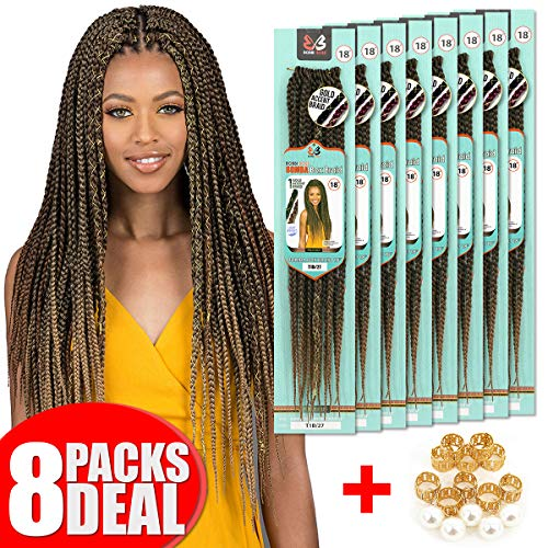[8 PACKS DEAL] Bobbi Boss Synthetic Pre-Looped Bomba Box Braid 18
