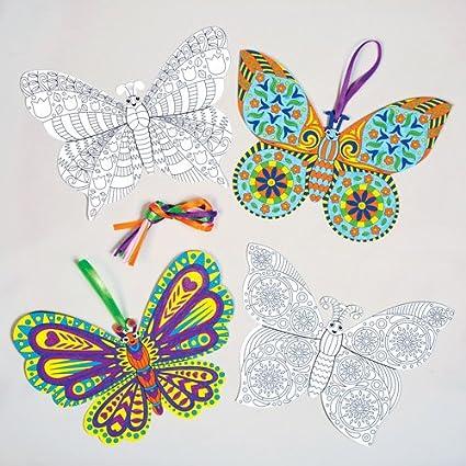 Juego de Adornos de Mariposas para Colorear Que los Niños Pueden ...