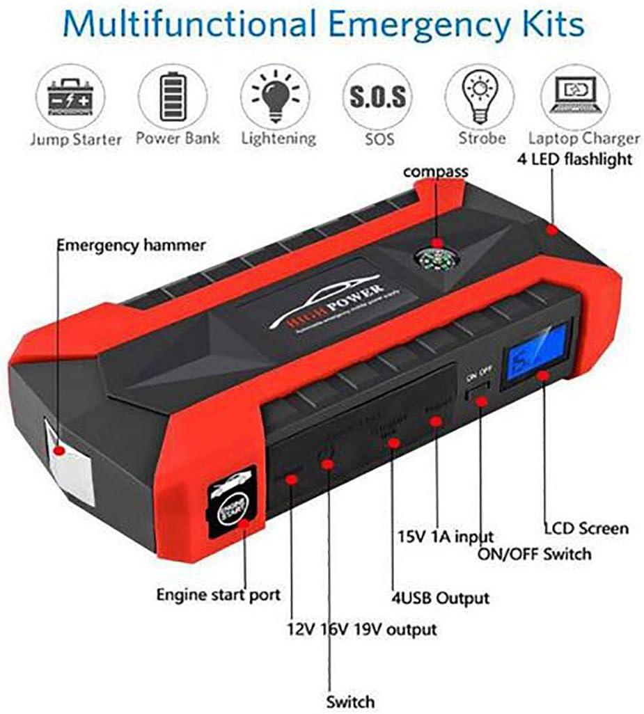 Car Jump Starter Booster 12V 4USB Car Battery Charger Emergency Starting Power Bank Tool Kit f/ür Auto Starter Ger/ät