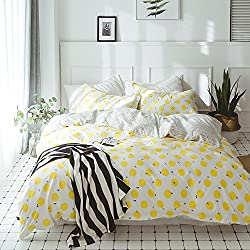 Fruits Lemon Print Cotton Duvet Cover Set Twin 3 Piece Kids Bedding Cover Set for Boys Girls Reversible Floral Leaves Twin Bedding Set for Teens Adults Modern Children Bedding Collection