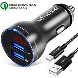 Mindsky Quick Charge 3.0 カーチャージャー Dual USB アルミ合金 車載充電器 QC 3.0&5V/3.1A USB2ポート 急速充電 充電ケーブル付 12V・24V車 トラック対応 iPhone/iPad/Android対応