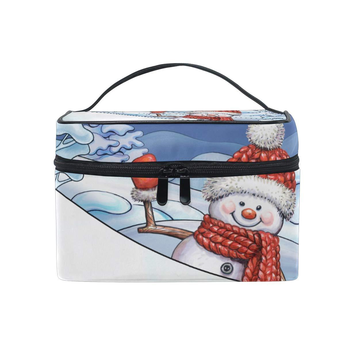 27d1c41f0bb8 Amazon.com : Travel Cosmetic Bag Snowman Tree Toiletry Makeup Bag ...