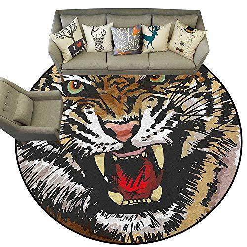 Tiger,Carpet mat Digital Drawing of Large Feline Sketch Style Angry Big Cat with Intense Eyes Print D66 Long Kitchen Mat Bath Carpet