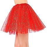 Women's Classic 3 Layered Tulle Sparkling Sequin Tutu Skirt